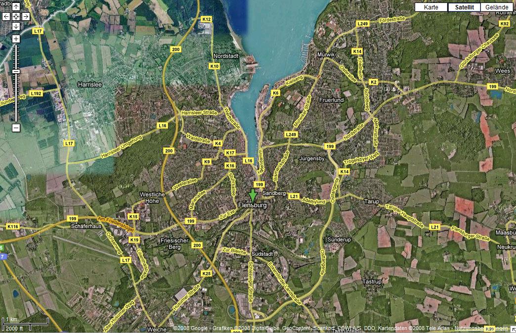 Satelitenbild Flensburg